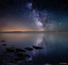 Milky Way Stars shine bright over Lake Oahe, South Dakota, by Aaron J. Groen, via 500px