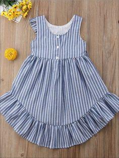 Girls Blue Striped Ruffle Sleeveless Hi-Low Dress – Kleidung Baby Girl Frocks, Frocks For Girls, Little Girl Dresses, Baby Dresses, Dresses For Kids, Girls Dresses, Dresses Dresses, Dance Dresses, Girls Frock Design