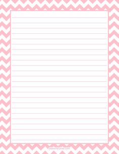 Printable pink chevron stationery and writing paper. Multiple versions available with or without lines. Free PDF downloads at http://stationerytree.com/download/pink-chevron-stationery/