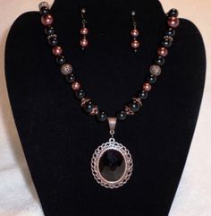 Black and copper jewelry set by MysticalGypsies on Etsy, $17.00