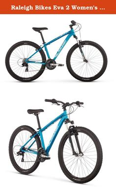 Raleigh Bikes Eva 2 Women's Mountain Bike, Blue Medium. Get outside for some fresh air this weekend and have fun with your new two-wheeled companion, eva 2! from town to trail and back again, this entry-level women's mountain bike is equally at home on the dirt as it is on the pavement. Built with the beginner rider in mind, the eva 2 offers comfort and control with a low stand over height and women's specific geometry. The cushy raleigh mountain plush saddle and small diamond grips are…