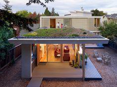 Living roof, prefab house.