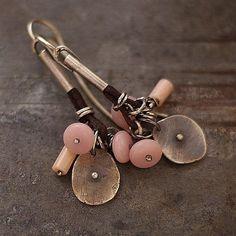 Pastel pink  earrings .Sterling silver .  Raw earrimgs by ewalompe