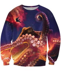 Deep sea meets deep space in this all-over-print Octopus Space Crewneck Sweatshirt! Get yours today, only at RageOn! Designed by: Derek Brennan