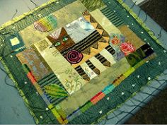 Art journal inspiration: she has become herself by Jude Hill Colorful Quilts, Small Quilts, Mini Quilts, Cat Quilt, Doll Quilt, Quilt Art, Art Textile, Textile Artists, Fiber Art Quilts