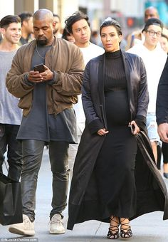 Big day: Kim Kardashian and husband Kanye West took a stroll in San Francisco after attending the Democratic National Committee fundraising event Kim Kardashian Pregnant, Kim Kardashian And Kanye, Kardashian Style, Kardashian Jenner, Kanye West Style, Kanye West And Kim, Maternity Wear, Maternity Fashion, Maternity Styles