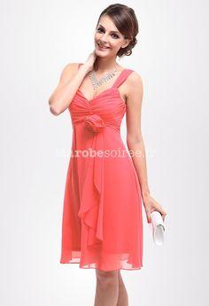 dd21bd6153f robe de soirée loren en mousselin courte corail avec deux bretelles Robe  Corail Mariage