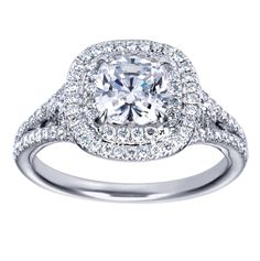 cushion cut halo diamond engagement ring 2 - pictures, photos, images