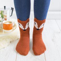 Fiber Factor to the Foot Factor: Cute Animal Socks from Lauren Rikel - Interweave Sock Animals, Knitted Animals, Cute Animals, Fox Socks, Cute Socks, Fox Face, Knit Picks, Sock Yarn, Knit Or Crochet