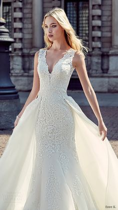 eddy k milano bridal 2017 sleeveless vneck sheath lace wedding dress ball gown (md199) zfv