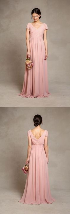 Beautiful Pink Short Sleeved Long Pink Chiffon Bridesmaid Dress