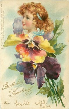 BIRTHDAY GREETINGS  FROM  girl above pansies, F. Brundage