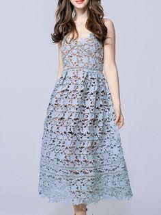 Blue Backless Crochet Hollow Out Dress