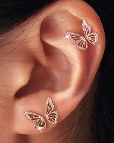 Wing Earrings, Butterfly Earrings, Ear Jewelry, Cute Jewelry, Pretty Ear Piercings, Accesorios Casual, Delicate Jewelry, Zoom Call, Latest Styles