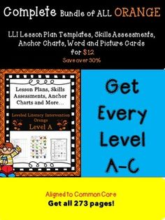This is a bundle of ALL the Orange Lessons (11-70) including  lesson plan templates including levels A, B, and C. It does NOT include the getting started lessons.  Please do not purchase this if you have purchased my individual levels. I always have trouble keeping documentation on my LLI students as well as my lesson plans for LLI.