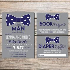 Little Man Baby Shower Invitation, Boy Baby Shower, Bowtie Baby Shower, Invitations, Couples Baby Shower, Boy Shower  This listing is for a PRINTABLE one-sided Baby Shower invitation, 1 diaper raffle card and 1 book request card for you to print at home or print through a print shop.  This invite comes as 5x7 and the 2 cards are 5x3.5.  *Let me know if you want a different color scheme, I can change it for you at no additional charge.   Everything is sent through email only for you to print…