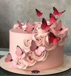 Baby Birthday Cakes, 50th Birthday, Girl Birthday, Butterfly Cakes, Pink Butterfly, Buttercream Cake, Beautiful Cakes, Cake Designs, Sweet 16