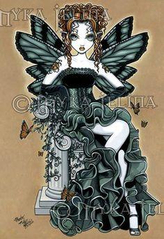 Gothic Fantasy Art, Gothic Fairy, Dark Fantasy, Fantasy Artwork, Tiger Lily Tattoos, Fairies Photos, Unicorns And Mermaids, Fairy Pictures, Butterfly Fairy