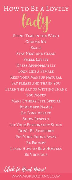 How to Be a Lovely Lady | Femininity | Lady-like Etiquette | How to Be a Lady | How to Be Classy | Be a Lady | Be Lovely
