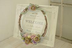 大人可愛いリースをアレンジした、フレンチスタイルなウェルカムボード/マノン - manon- Wedding Signs, Wedding Decorations, Decorative Boxes, Bouquet, Scrapbook, Wreaths, Frame, Flowers, Google