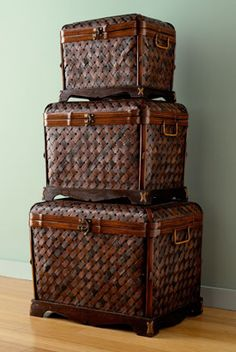 Woven Bamboo Stacking Trunks
