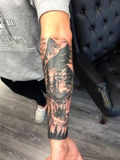 Stag and Scene Tattoo by Lorand Limited Availability @ Revelation Tattoo Studios… – tattoo sleeve men Nature Tattoo Sleeve, Full Sleeve Tattoos, Tattoo Sleeve Designs, Tattoo Designs Men, Mandala Tattoo, Forearm Band Tattoos, Xoil Tattoos, Tree Tattoos, Natur Tattoo Arm
