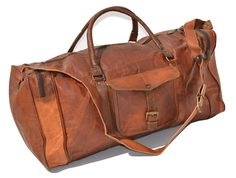 Duffel Bag Genuine Vintage Brown Leather Goat hide 24' Travel Luggage bag *** Read more  at the image link.