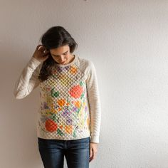 Linden sweater modifiée for quilted Nani Iro Make Your Own Clothes, Next Clothes, Clothing Patterns, Sewing Patterns, Fall Sewing, Sewing Clothes, Dressmaking, What To Wear, Fashion Outfits
