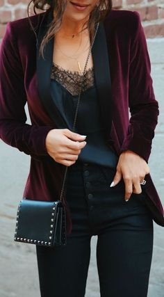 Burgundy merlot velvet tuxedo blazer, black lace cami, black skinny jeans, black crossbody bag. Casual Holiday Style via @andeelayne. Cute women's fashion chic fall, winter, spring, summer casual street style outfit inspiration ideas. Outfit inspo. #fashioninspocasual