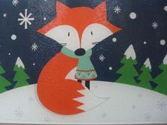 12x8-Holiday-Glass-Cutting-Cheese-Board-COLORFUL-FOX-IN-WINTER-SCENE-Multi-color