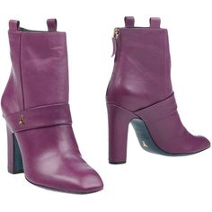 Patrizia Pepe Ankle Boots (2.547.400 IDR) ❤ liked on Polyvore featuring shoes, boots, ankle booties, purple, leather bootie, bootie boots, purple boots, purple leather boots and short leather boots