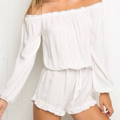 White Brandy Melville Gabriella romper Brand new Brandy Melville off the shoulder romper! Never worn only tried on! Super cute for summer! Accepting offers no trades!! Cheaper on merc* Brandy Melville Dresses