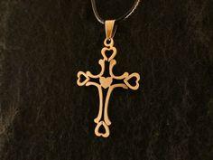 Anhänger 24 Karat Vergoldet Kreuz Halskette Herz Konfirmation Kommunion Kette