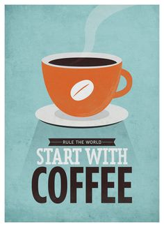 "Start With Coffee Wall art - 20x28"" Archival Print on Matte Canvas - Vintage-style coffee quote poster via Etsy."