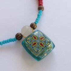 Spanish Tile Necklace with Turquoise and Red Glass Beads - Designed and Handmade by Me in the USA