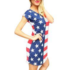 Fashion Women Summer National Flag Print Short Sleeve Casual Short Mini Dress
