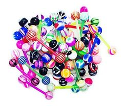 BodyJ4You® Tongue Rings Assorted Flexible Lot of 100 Piercing Barbells 14 Gauge