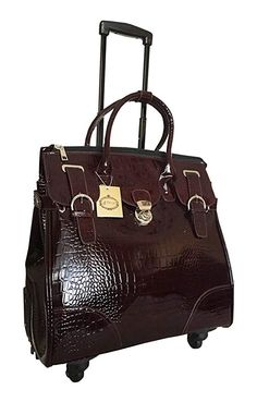 Amazon.com: Trendy Flyer Computer/laptop Large Bag Tote Duffel Rolling 4 Wheel Spinner Luggage Brown Croc: Clothing Leather Suitcase, Leather Laptop Bag, Unique Handbags, Stylish Handbags, Tote With Wheels, Louis Vuitton Luggage Set, Rolling Laptop Bag, Rolling Backpack, Laptop Bag For Women