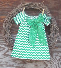 Girls Green Chevron Dress Girls Peasant Dress by SouthernSister2