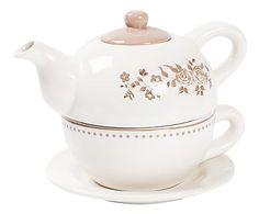 Juego de té individual en cerámica Fiori                                                                                                                                                      Más