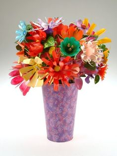 Flowers made from #recycled plastic bottles, wire and beads