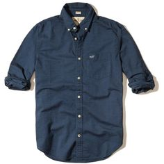 Hollister Stretch Oxford Shirt ($24) ❤ liked on Polyvore featuring men's fashion, men's clothing, men's shirts, men's casual shirts, navy, mens oxford shirts, mens button front shirts, old navy mens shirts and mens cotton oxford shirts