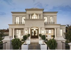 La Pyrenee features a first class home design inside and out, inspired from intricate French designs. Classic House Exterior, Classic House Design, Dream House Exterior, Modern House Design, Facade Design, Exterior Design, Architecture Design, House Outside Design, House Front Design