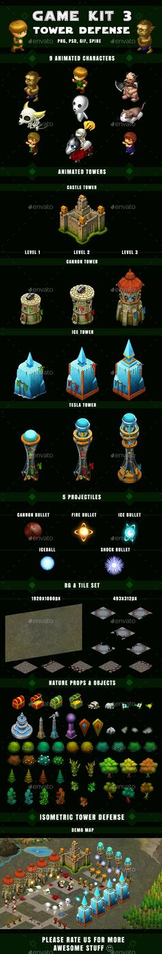 Isometric Tower Defense Kit 3 or 3