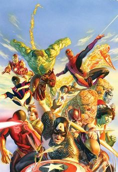 secret wars by Mike Zeck and Alex Ross Captain Capt. America Hulk Spider-Man Fantastic Four Human Torch Iron Man Nightcrawler X-Men Cyclops Avengers Rogue Wasp Wolverine Hawkeye She-Hulk Marvel Storm Colossus Thing Hq Marvel, Marvel Comics Art, Bd Comics, Marvel Heroes, Spiderman Marvel, Avengers Comics, Captain Marvel, Alex Ross, Comic Shop