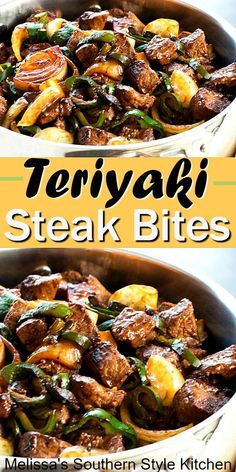 Teriyaki Steak Bites With Green Pepper And Onion - Chicken Dinner Recipes Steak Dishes, Food Dishes, Main Dishes, Beef Recipes For Dinner, Cooking Recipes, Dinner Ideas With Steak, Cooking Beef, Camping Cooking, Cooking Hacks