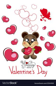 Valentine s day teddy bear vector image on VectorStock Bear Vector, Vector Free, Valentines Greetings, Valentines Day, Teddy Bear With Heart, Bear Cartoon, Emoji Wallpaper, All Holidays, Love Pictures