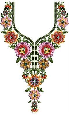 Embroidery Design For Ladies Suits 14940 Simple Hand Embroidery Designs, Latest Embroidery Designs, Border Embroidery Designs, Embroidery Flowers Pattern, Creative Embroidery, Lace Embroidery, Machine Embroidery Designs, Neckline Designs, Dress Neck Designs