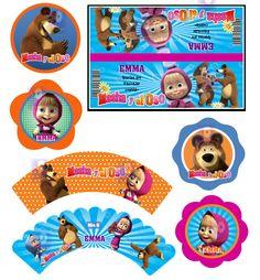 Kit Imprimible Masha Y El Oso - Cumpleaños - Candy Bar a $ 35.Juegos y Juguetes…