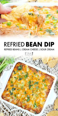 Top this easy bean dip with cheese and bake it until hot and bubbly and you've officially got the ultimate party appetizer on hand! This Refried Bean Dip requires only a few simple ingredients, comes together quickly in just 10 minutes or less, and feeds a crowd. This easy appetizer dip recipe can be made ahead of time and served with Fritos, tortilla chips, or veggies!